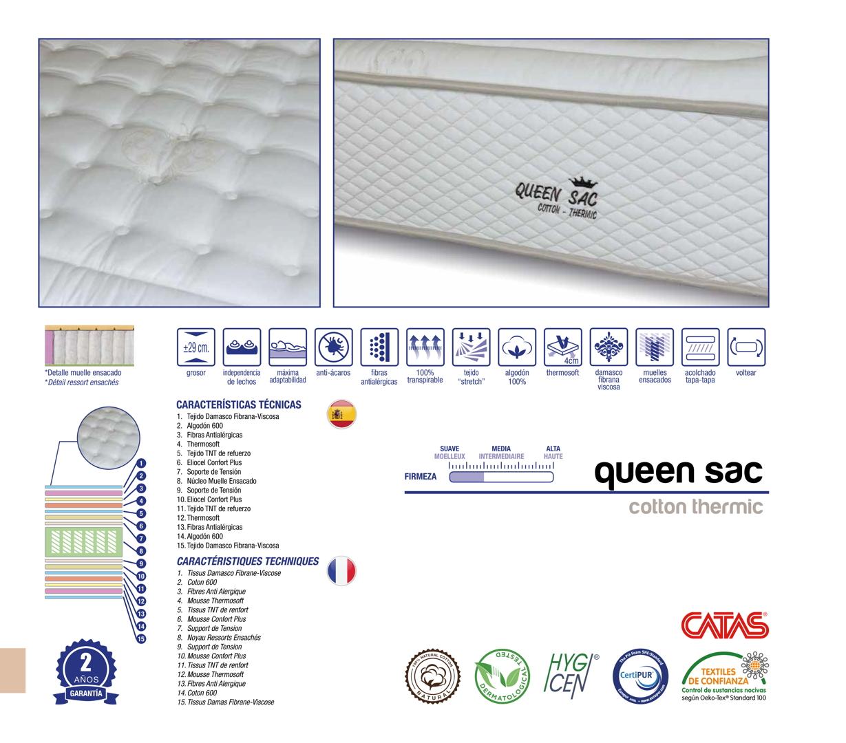 colchones randor ensacados queen sac cotton thermic