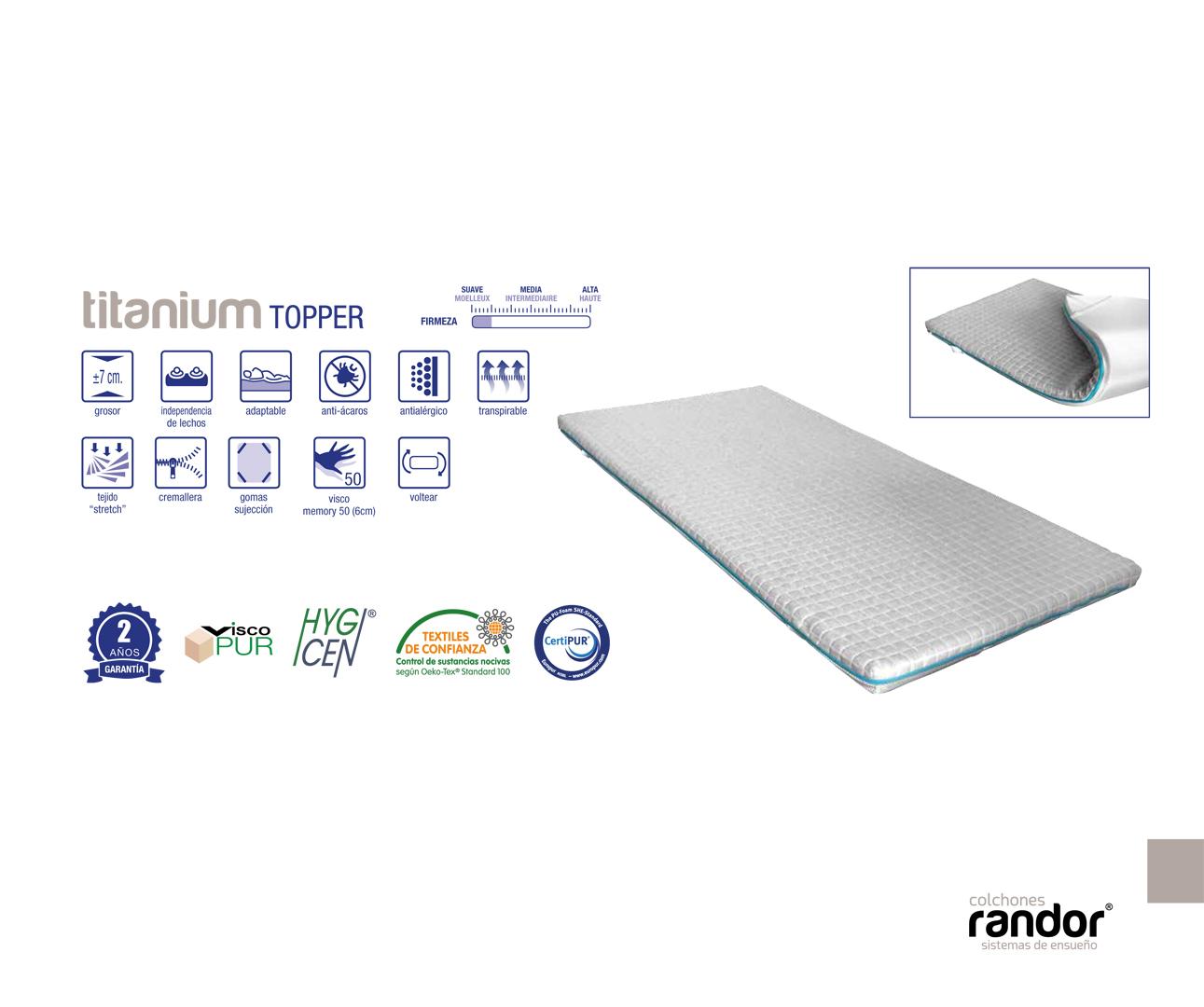 colchones randor topper titanium